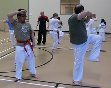 Master Yeoh in the far background instructing red belt students on their next pattern (poomsae) to achieve their black stipe level.